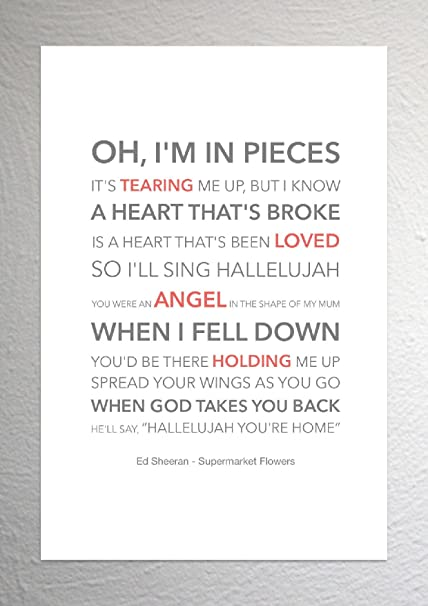 Ed Sheeran - Supermarket Flowers - Funky Lyric Art Print - A4 Size