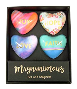 Faith Hope Love Magnanimous Heart Magnets, Set of 4