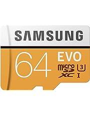 Samsung EVO - Tarjeta de Memoria microSD de 64 GB (MicroSDXC EVO, 64 GB, MicroSDXC, Clase 10, 100 MB/s, UHS-I, IPX7), Naranja/Blanco