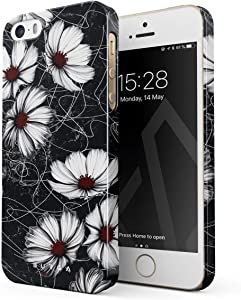 BURGA Phone Case Compatible with iPhone 5 / 5s / SE - Senseless Cosmos Dark Black Floral Pattern for Girls Cute Case for Women Thin Design Durable Hard Plastic Protective Case