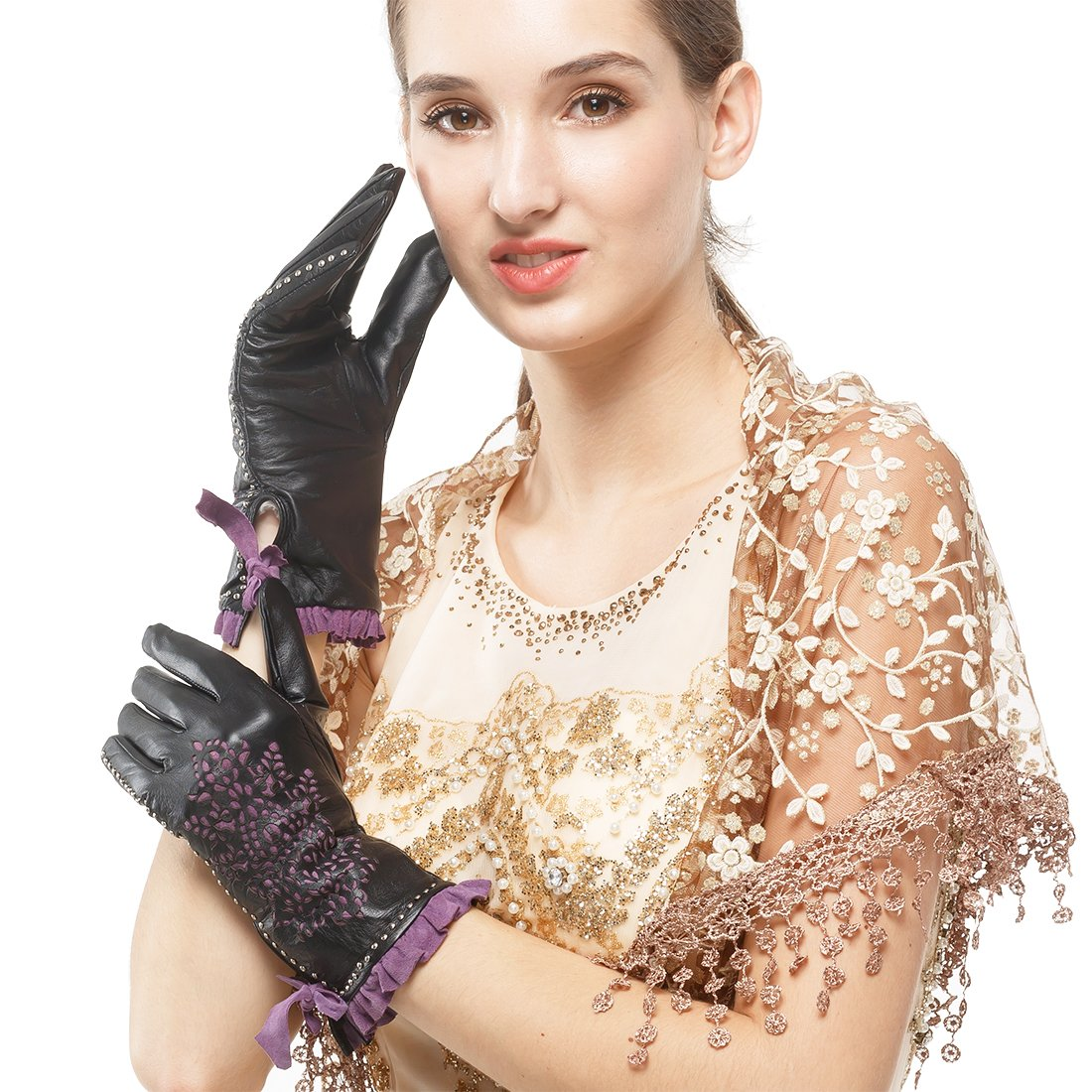 Nappaglo Women's Genuine Nappa Leather Gloves Perforated Winter Warm Short Gloves with Purple Lace (S (Palm Girth:6.5''-7''), Black (Non-Touchscreen)) by Nappaglo (Image #1)