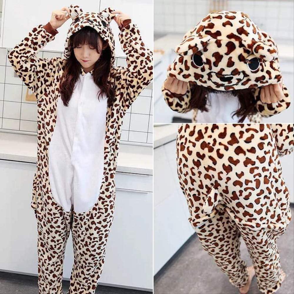 Kigurumi Pijama Animal Entero Unisex para Adultos con Capucha Cosplay Pyjamas Oso Leopardo Ropa de Dormir Traje de Disfraz para Festival de Carnaval Halloween Navidad