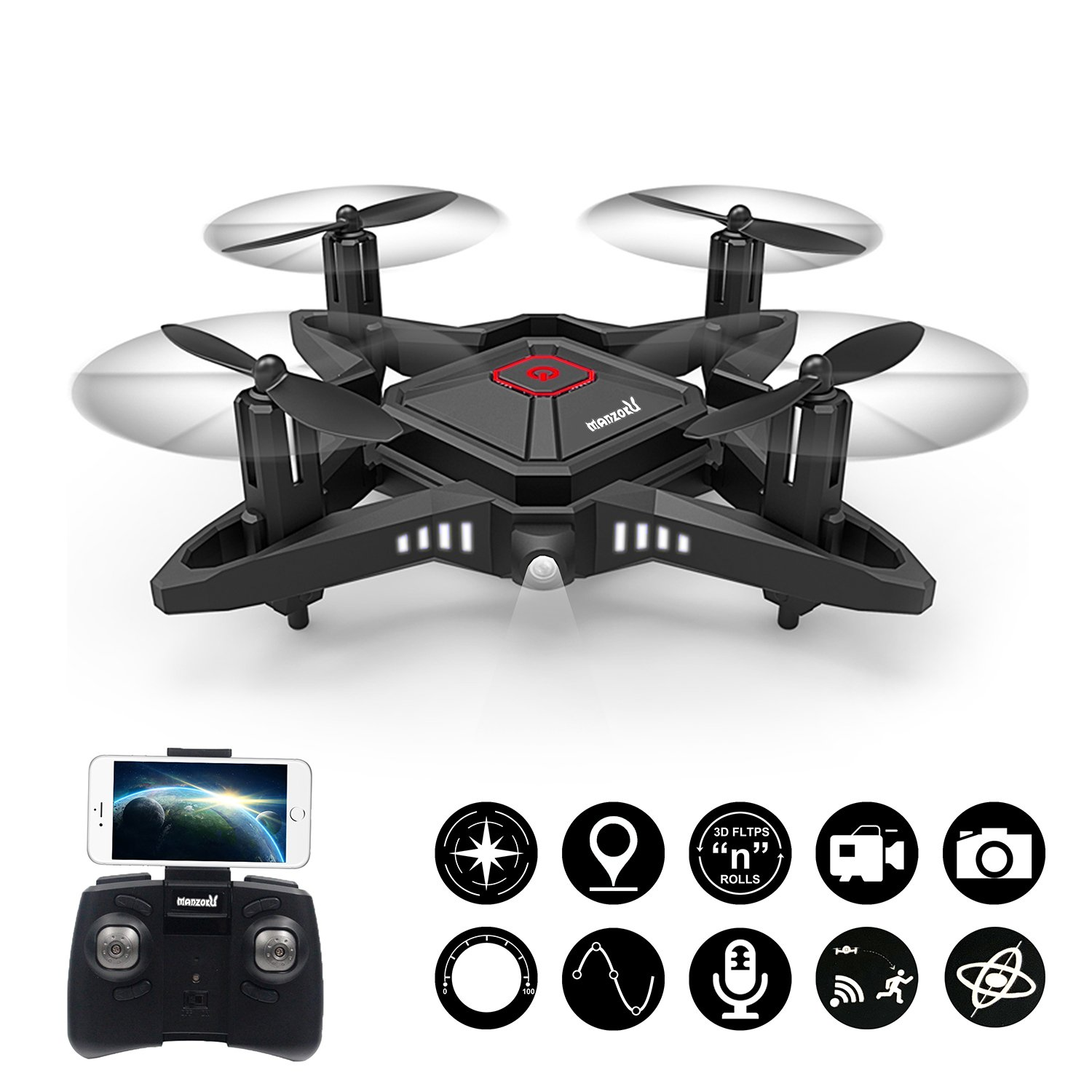 Foldable Mini RC Drone 2.4Ghz 6-Axis gyro Nano Quadcopter with HD Camera, Altitude Hold, 3D Flips, LED Lights, One Key Return and Headless Mode Drones for Beginners