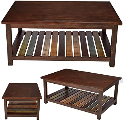 Amazon Com Rustic Sofa Table With Storage Large Open Wood