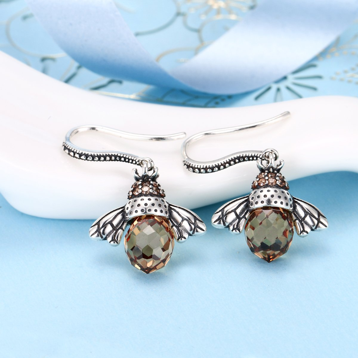 EleQueen 925 Sterling Silver Vintage Inspired Brown Crystals Queen Bee Earrings Jewelry For Women by EleQueen (Image #3)
