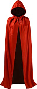 OurLore Black and Red Reversible Halloween Christmas Cloak Masquerade Party Cape Costume (55 inch, with Hood)