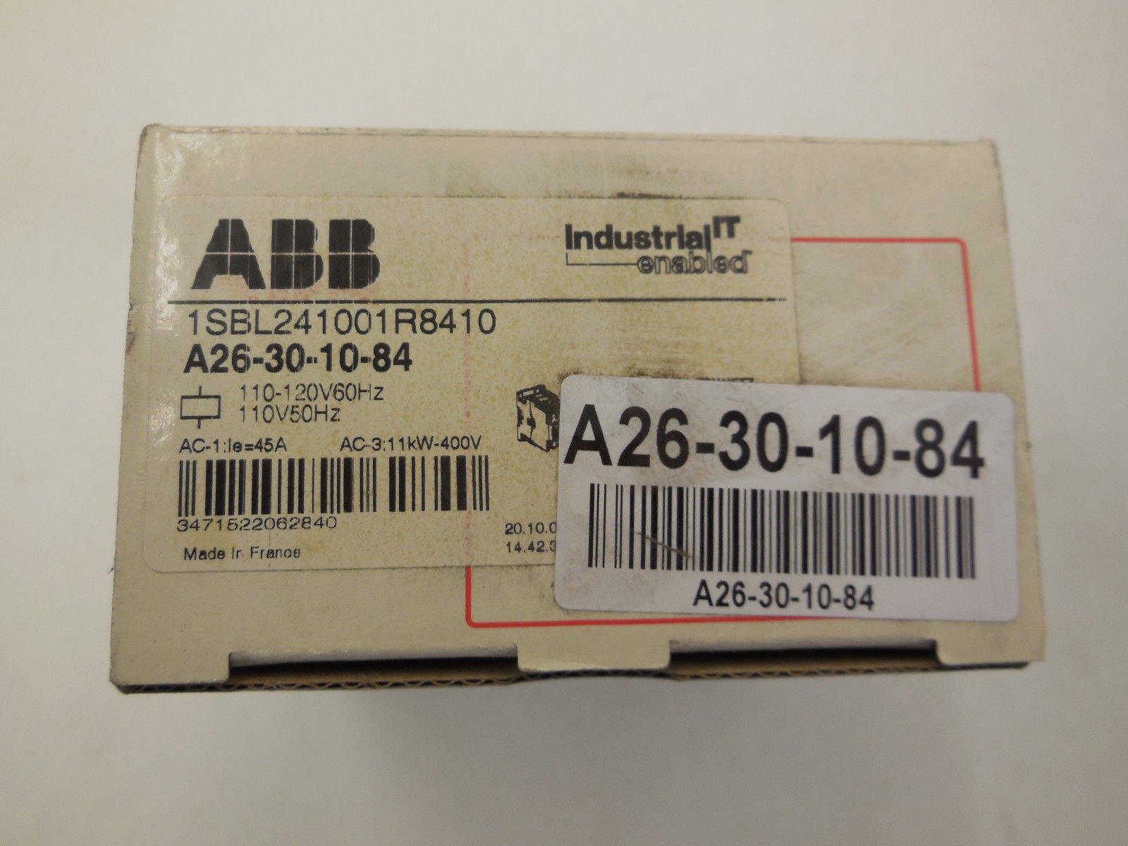 ABB, A26-30-10-84, 3 Pole, 28 Amps, 120VAC Coil, IEC Rated Contactor