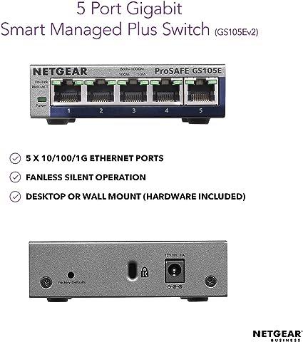 Netgear Gs105e 200uks Prosafe Plus 5 Port Gigabit Elektronik
