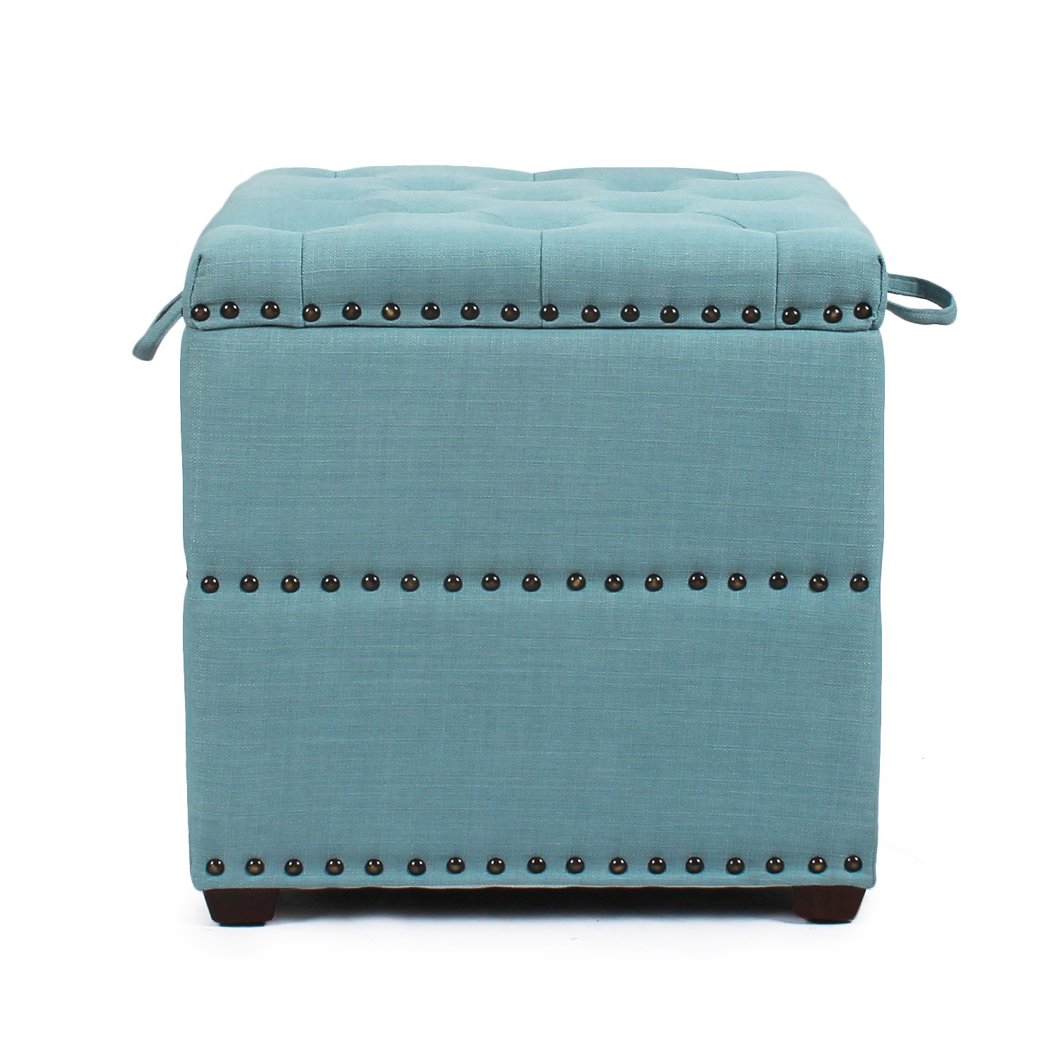 Decent Home Storage Ottoman Stool Fabric & Wood 18.5x18.5x19 Inches Blue by Decent Home