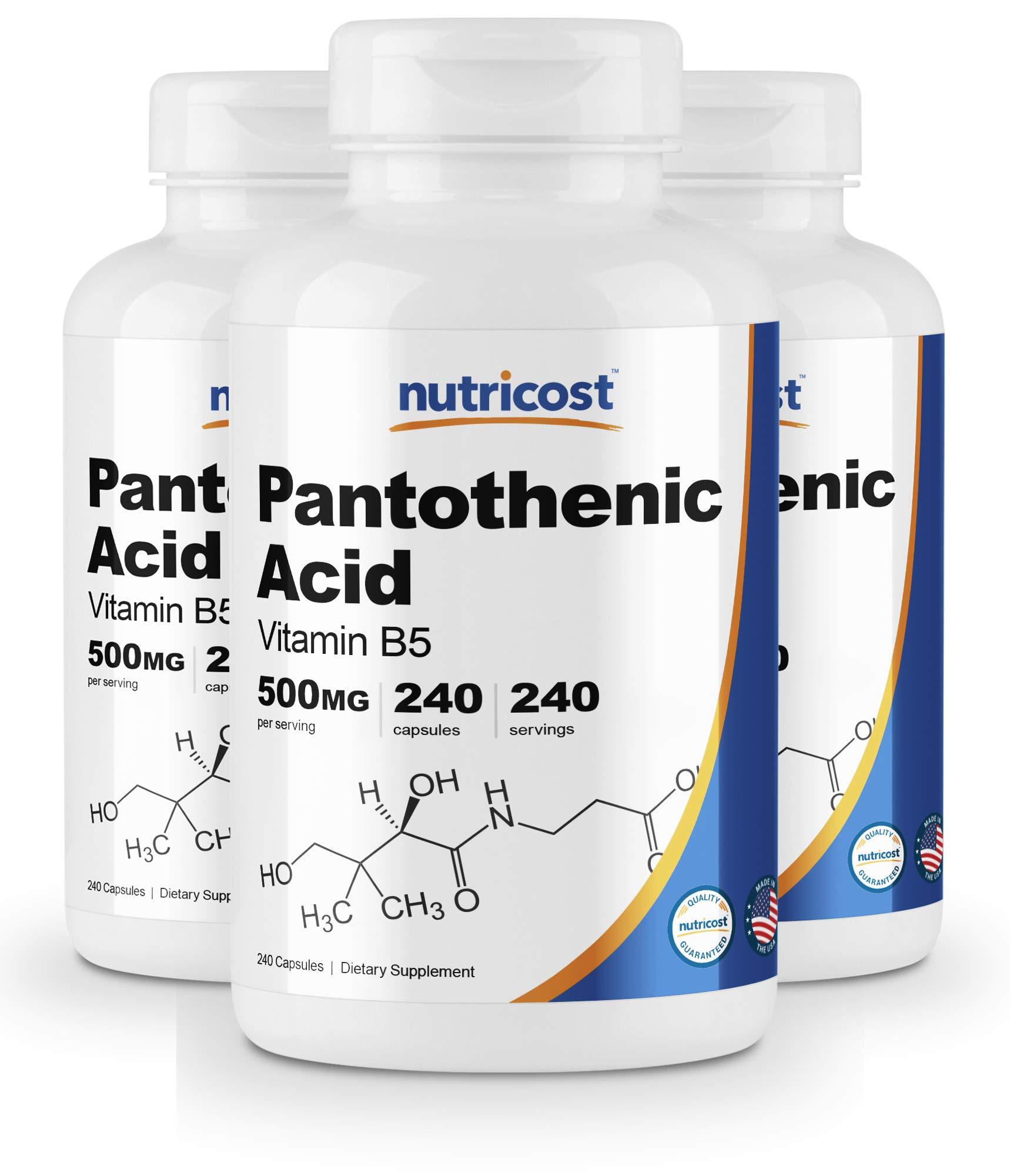 Nutricost Pantothenic Acid (Vitamin B5) 500mg, 240 Capsules (3 Bottles)
