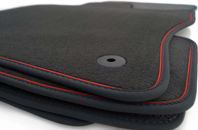 Kh Teile Fußmatten Passend Für Golf 5 6 Velours Automatten Autoteppich 4 Teilig Schwarz Nubuk Schwarz Zierband Rot Auto