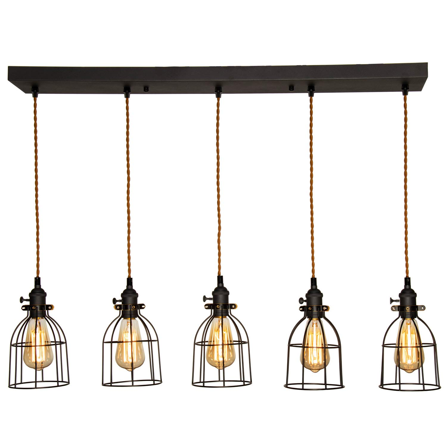 AILIN Farmhouse Rectangular Chandelier 5-Light, Indoor Home Pendant Lighting Fixture, Metal Vintage Caged Kitchen Island Lights, Antique Black Edison E26 Ceiling Lights