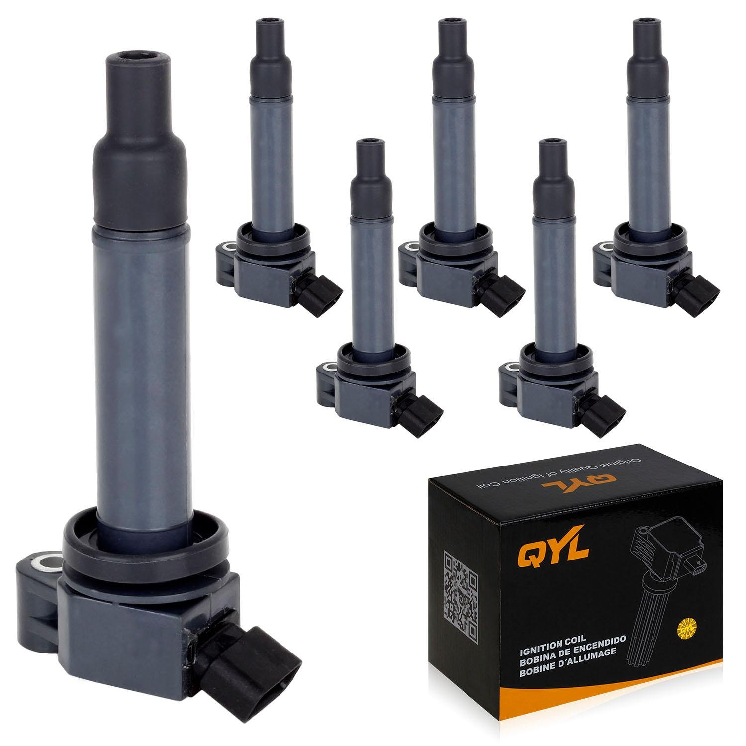 QYL Pack o f 6 Ignition Coils for Lexus ES300 RX300 Toyota Avalon Camry Highlander Sienna 3.0L V6 UF267 C1175 UF-267