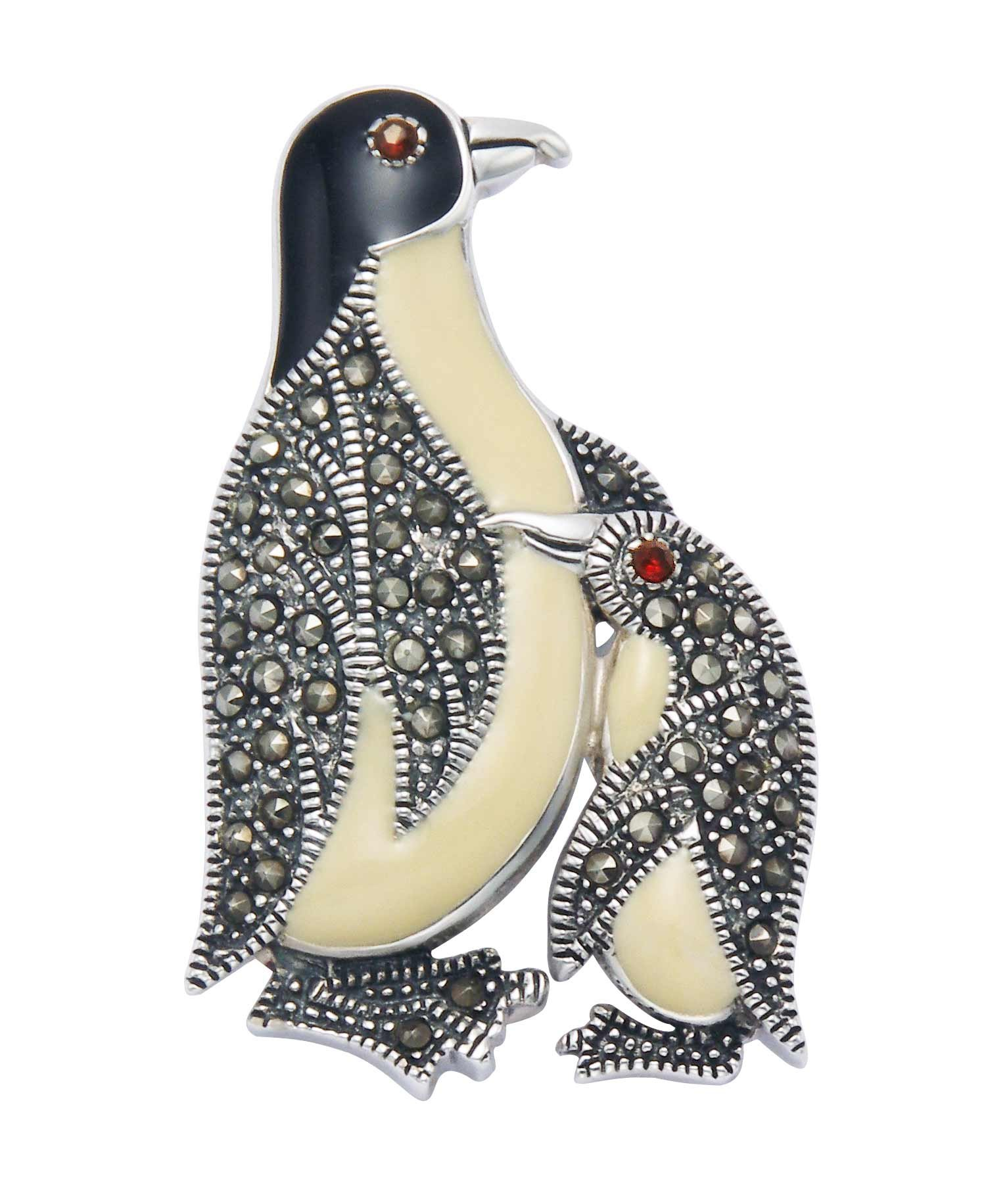 Sterling Silver Penguin & Chick Penguin Pin w/Marcasite Stones, Red Crystal Eye & Enamel Accents