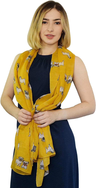 SEW ELEGANT NEW Ladies Women Animal Design Pug Dog Curled Tail Print Scarf