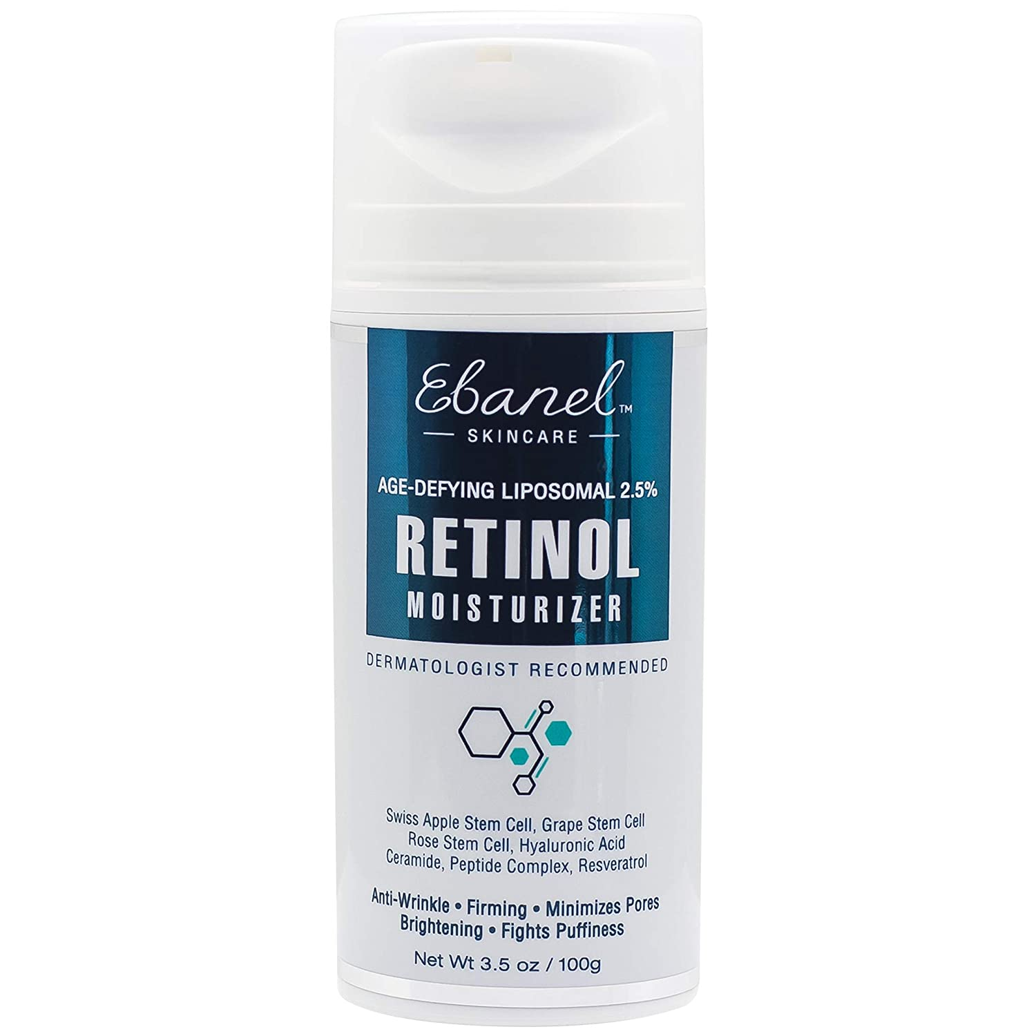 (3.5 Oz) Ebanel Advanced 2.5% Retinol Stem Cell Moisturizer with Age Defying Liposomal Technology - Hyaluronic Acid, Resveratrol, Peptide Complex Ebanel Laboratories Inc.