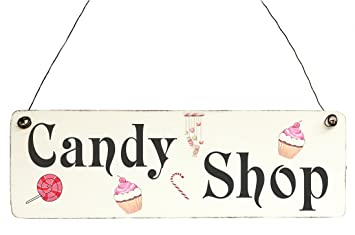 Amazon De Shabby Chic Candy Shop Schild Holz Vintage Deko Türschild