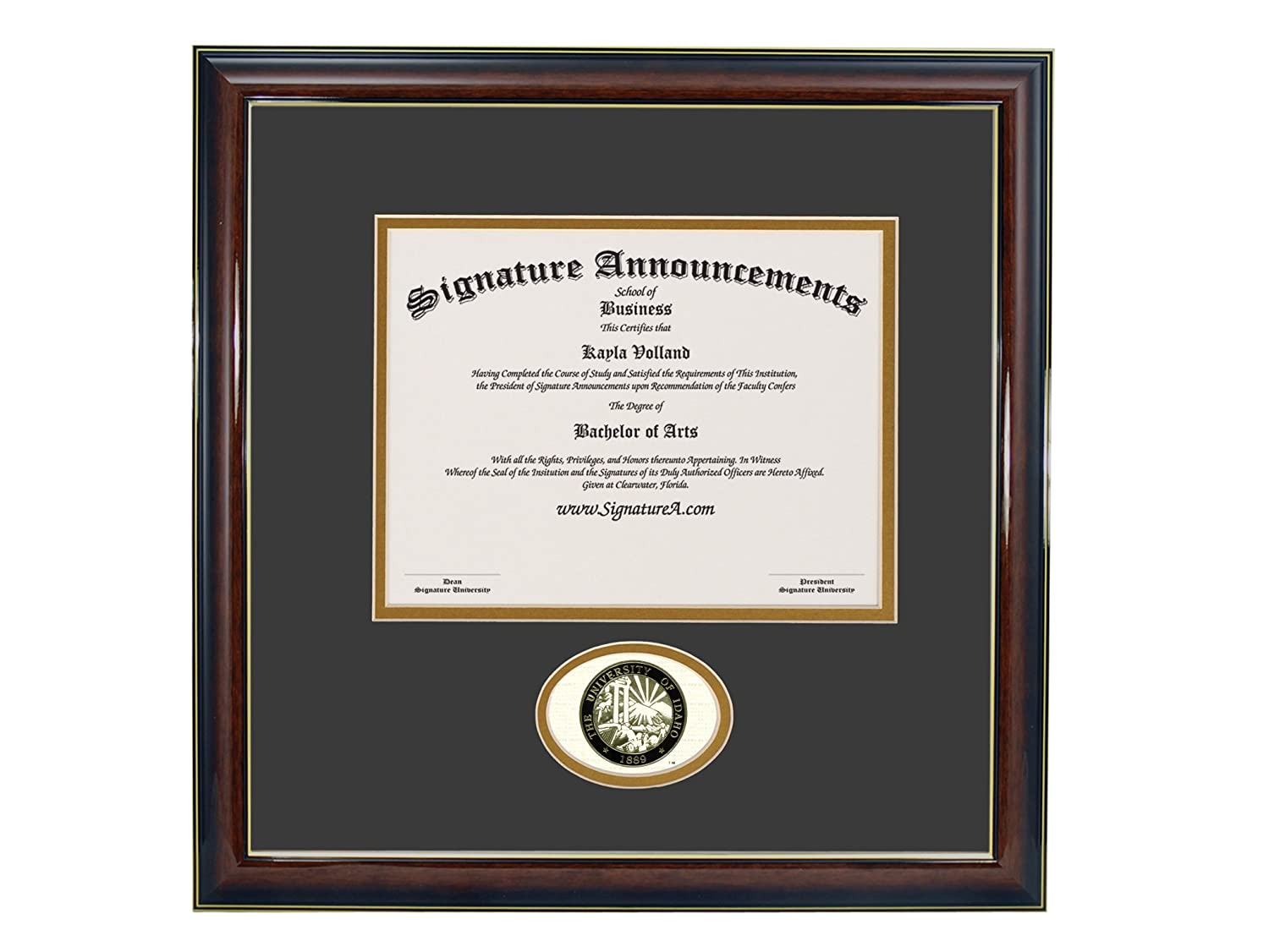 Signature Announcements University-of-Idaho Doctorate Sculpted Foil Seal Graduation Diploma Frame Gold Accent Gloss Mahogany 16 x 16