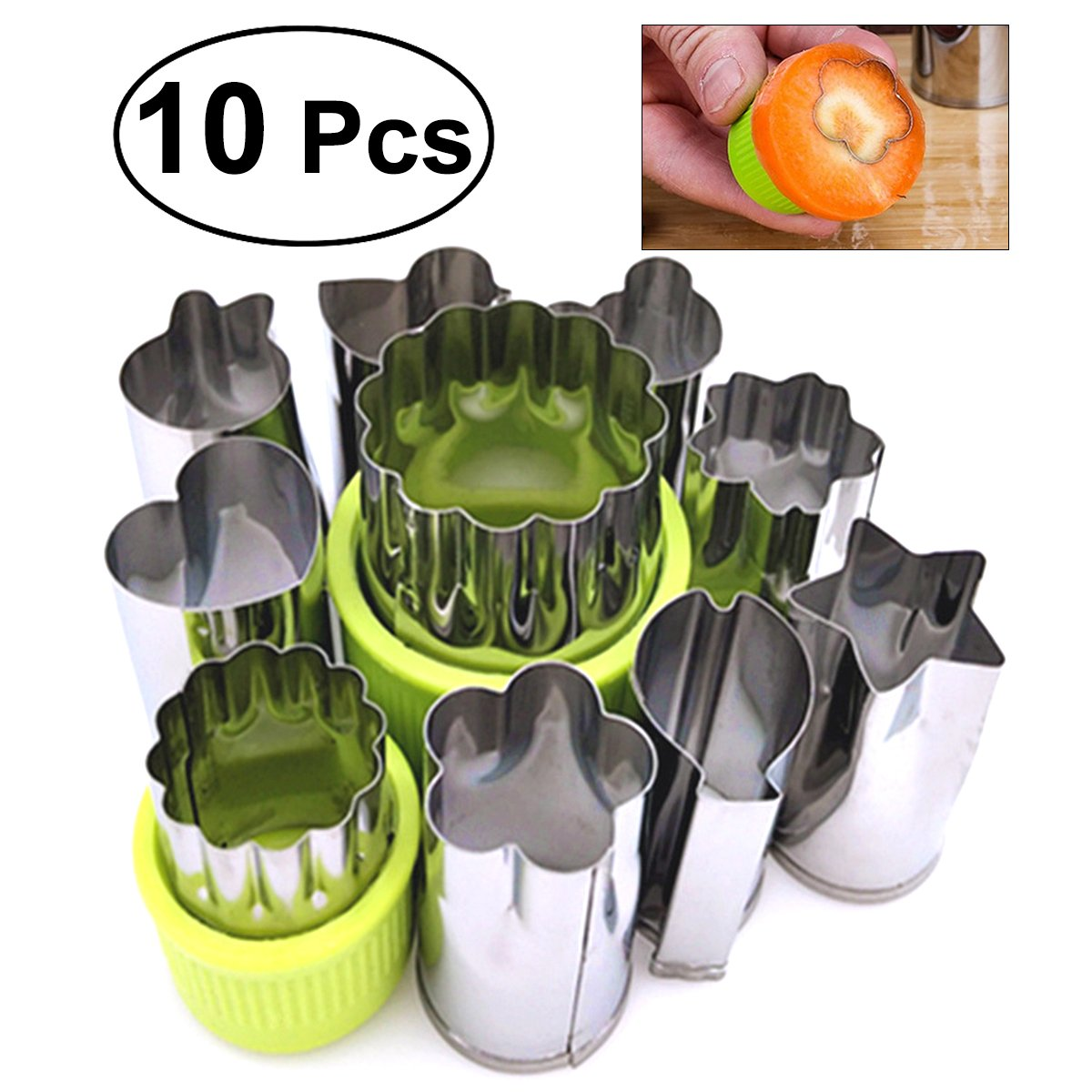 OUNONA 10Pcs Vegetable Cutter Shapes Set Stainless Steel Cutting Molds Fruits Cookie Cutter for Fun Food