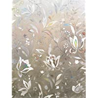 Rabbitgoo No Glue 3D Static Decorative Frosted Privacy Window Films for Glass, Flower Pattern