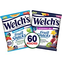 Welch's Fruit Snacks, Mixed Fruit & Superfruit Bulk Variety Pack, Gluten Free, 0.9 oz Individual Single Serve Bags (Pack…