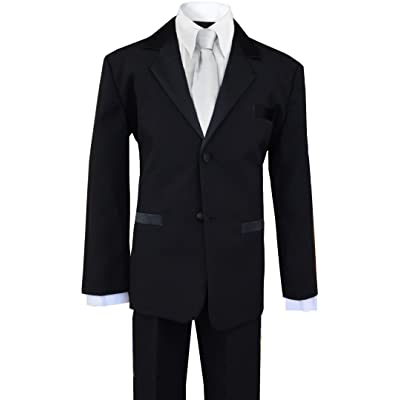 Boys Formal Tuxedo Suit in Black with a Light Silver Neck Tie