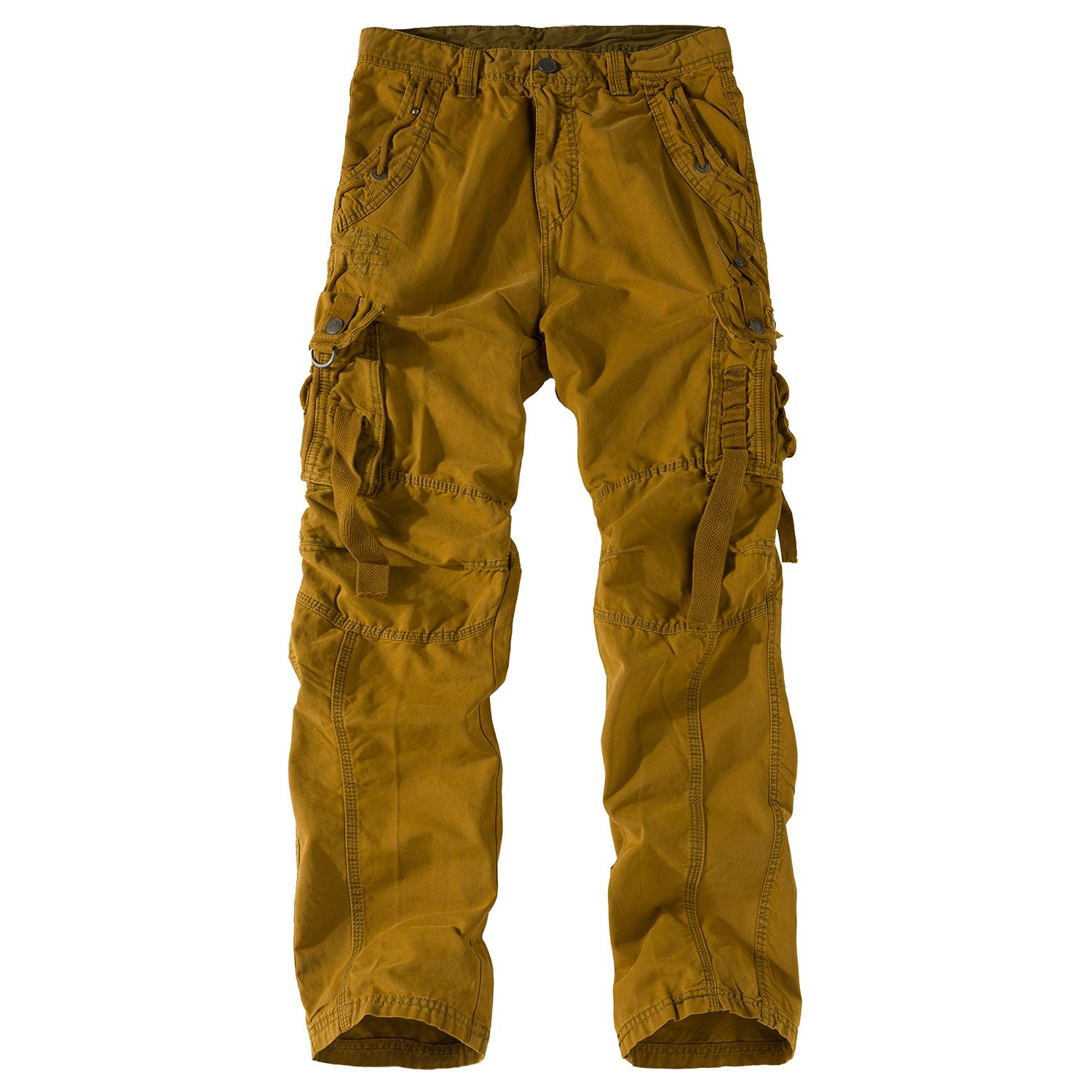 Eaglide Men's Cotton Relaxed Fit Out Door Work Tactical Cargo Pants (Earthy Yellow, 30W × 31L)