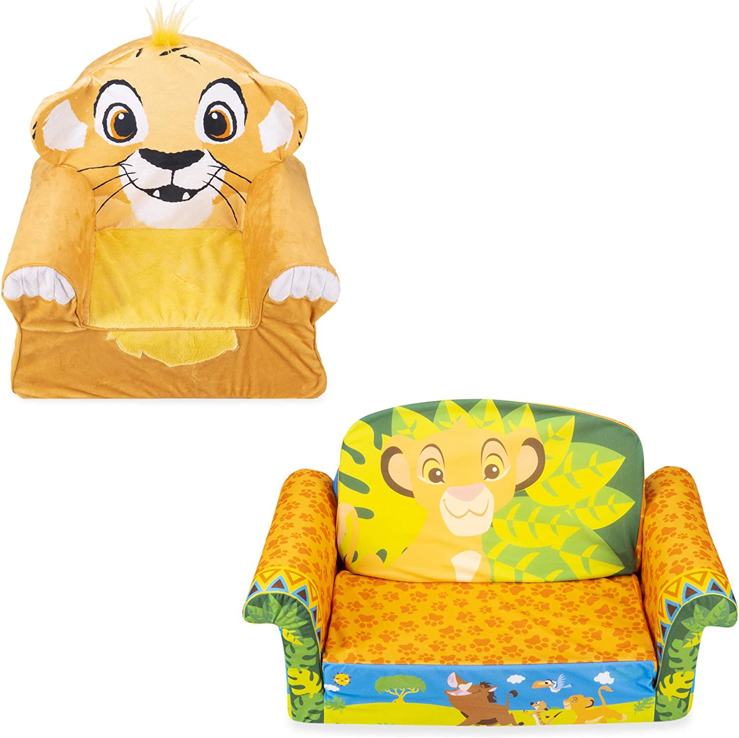 Marshmallow Furniture Comfy Foam Toddler 2-in-1 Flip-Open Couch and Chair Kids Furniture Package for Ages 2 Years Old and Up, Disney Lion King