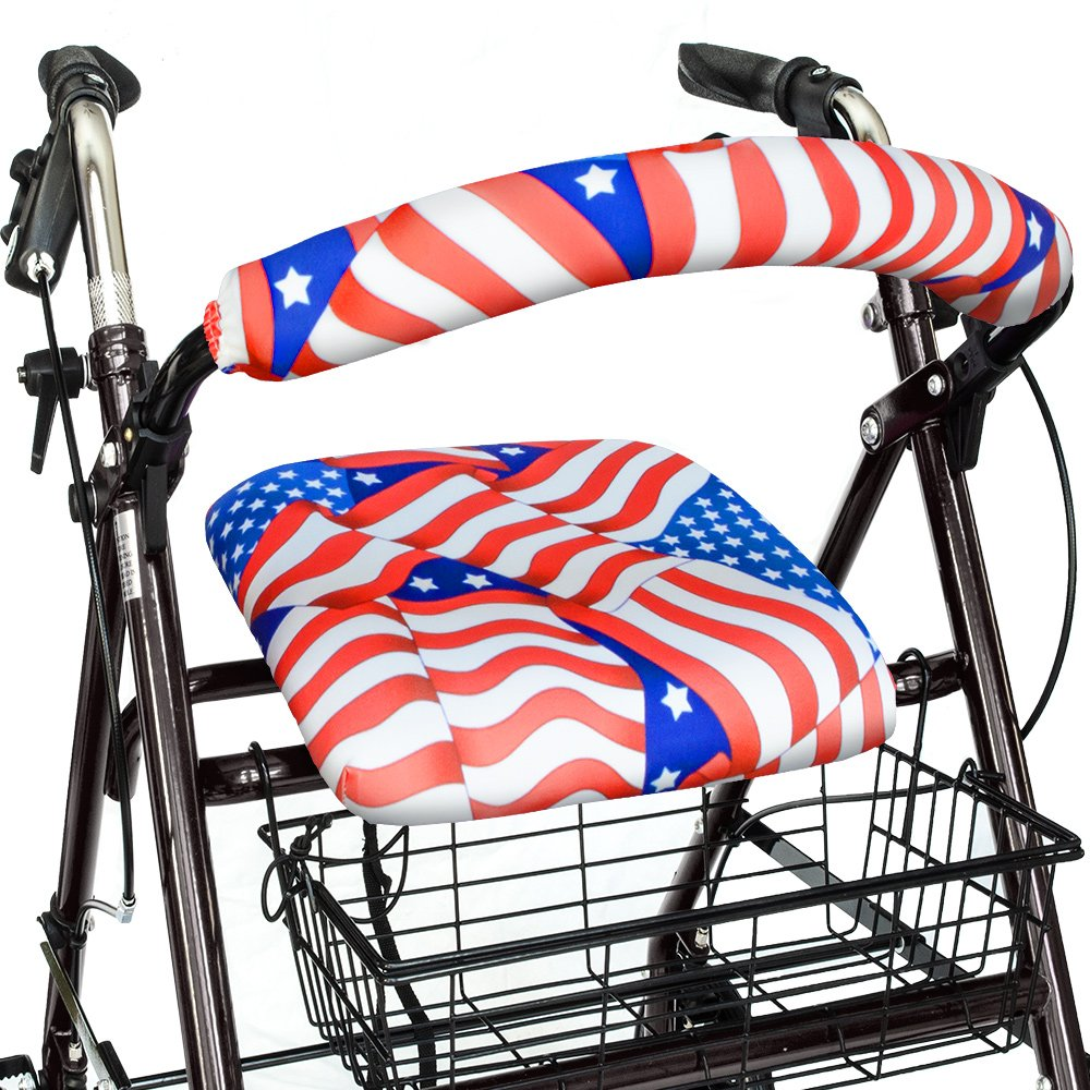 Top Glides Stars & Stripes Universal Rollator Walker Seat and Backrest Covers (Patriotic)