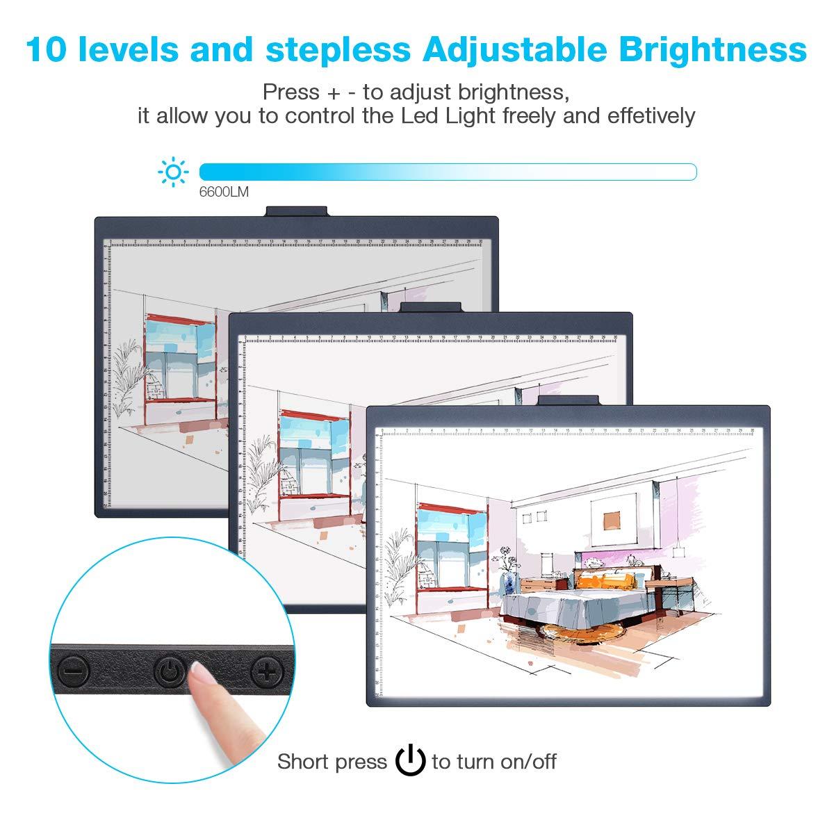 Elfeland Licht Pad A4 LED Leuchttisch Leuchtplatte Helligkeit Dimmbare Magnetische Light Pad Tragbare Lichtkasten mit Abziehbarer Halterung USB f/ür Zeichnen Animation Malen Schablonieren Designen