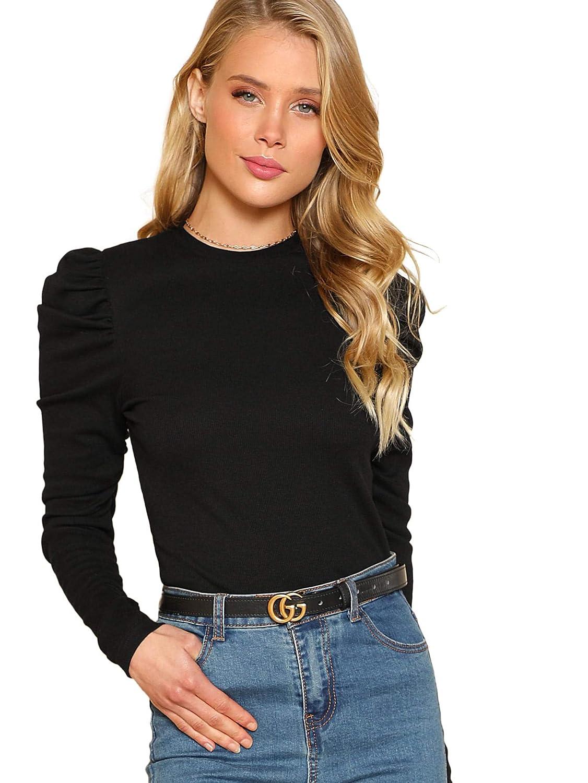 Black Floerns Women's Puff Sleeve Round Neck Casual T Shirt