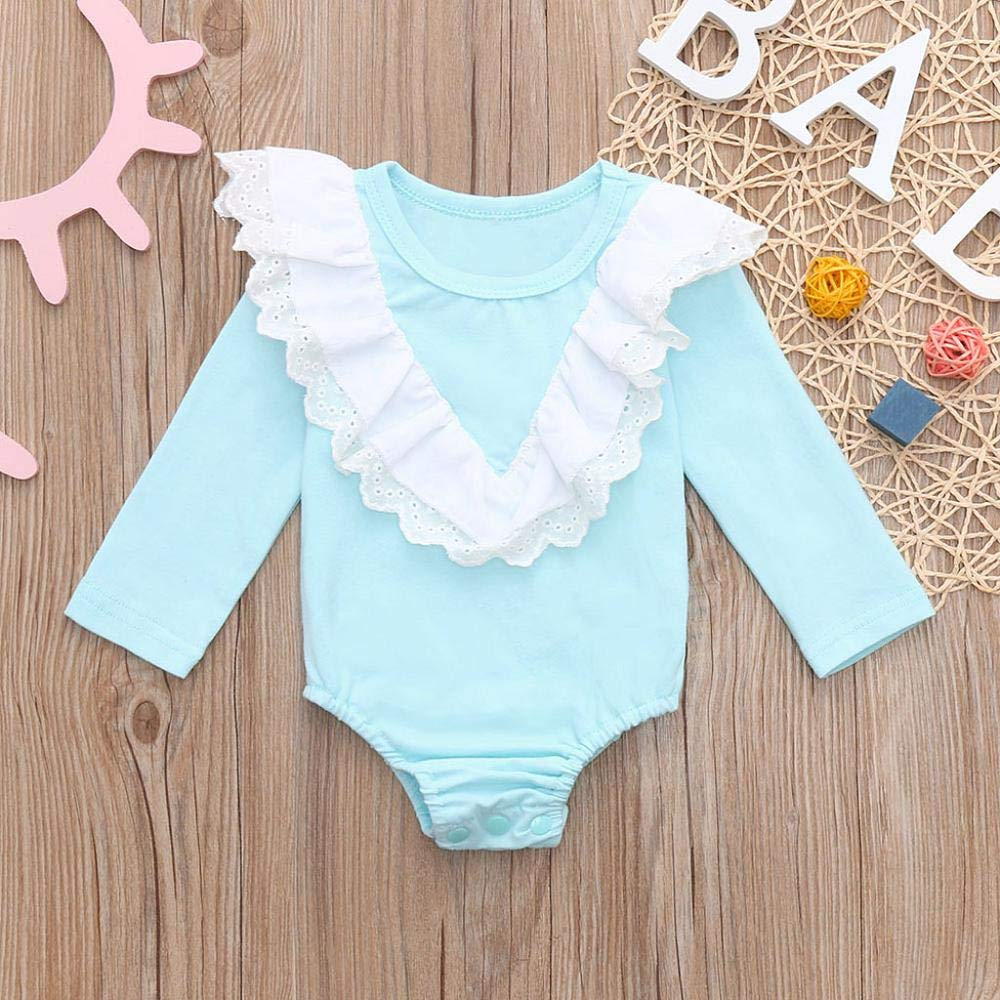 Zerototens Newborn Infant Baby Girl Long Sleeve Lace Ruffled Romper Bodysuit Tops Toddler Kids T-Shirt Tops Basic Tee Toddler Baby Casual Outfit 0-18 Months