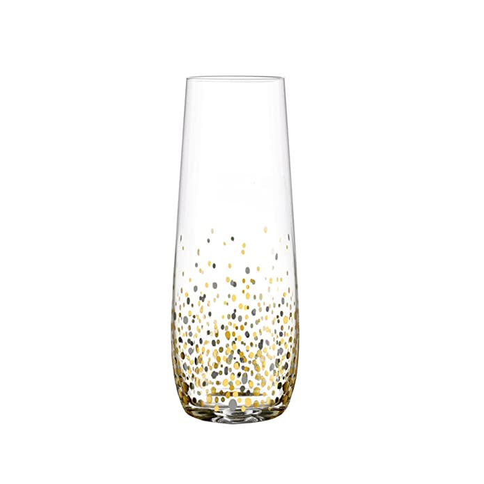 Fitz Floyd Fitz & Floyd Confetti Black and Gold Stemless Flute Glasses (Pack of 4)