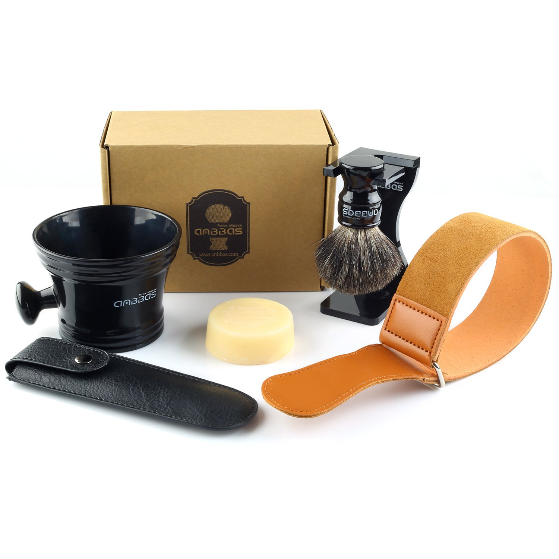 3pcs Shaving Set, Anbbas Black Badger Hair Shaving Brush with Medium Length Resin Handle and Dia 3.2
