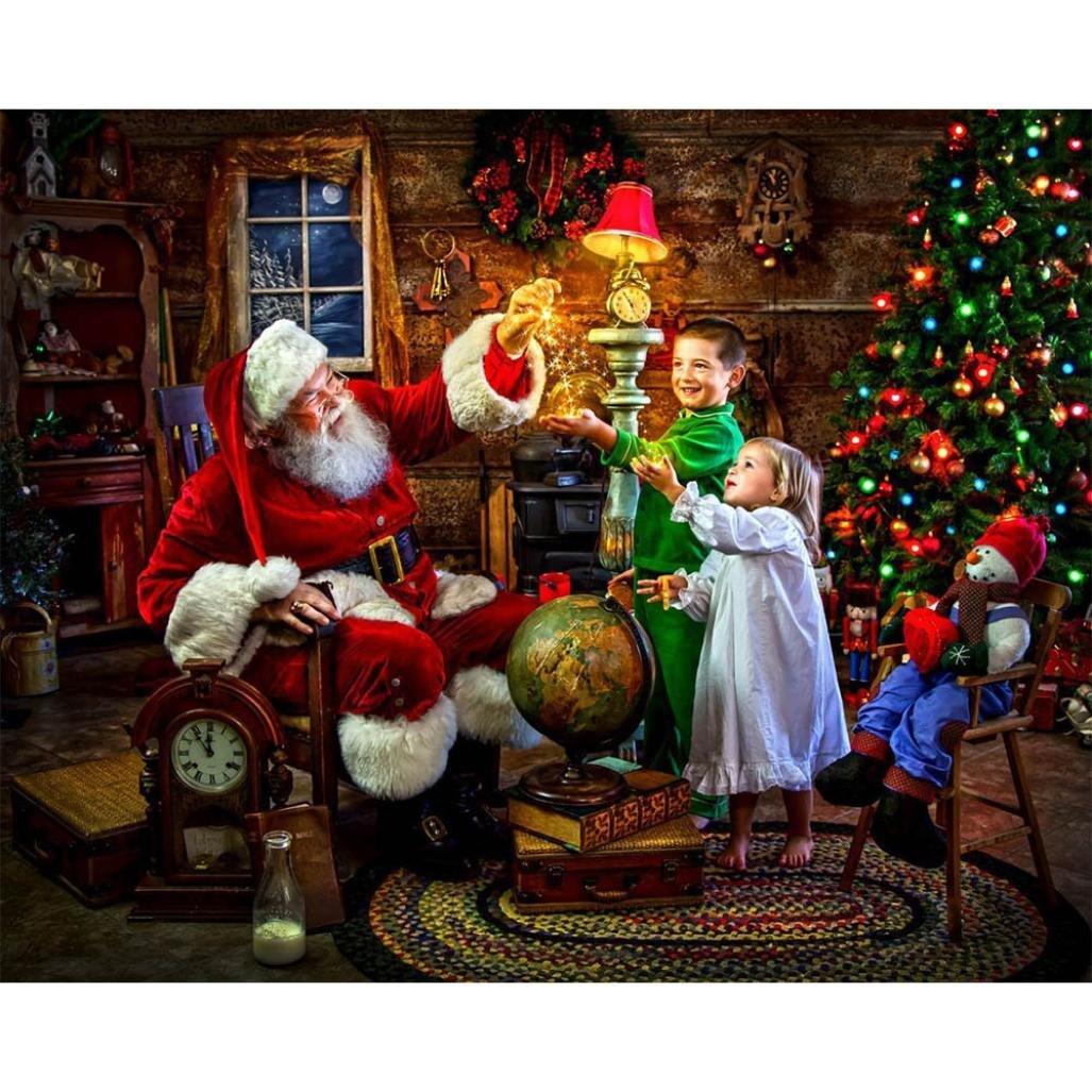 Christmas Rhinestone Painting, Kolylong 5D Diamond Rhinestone Pasted Embroidery Painting Cross Stitch Home Decor (Santa Claus 1)