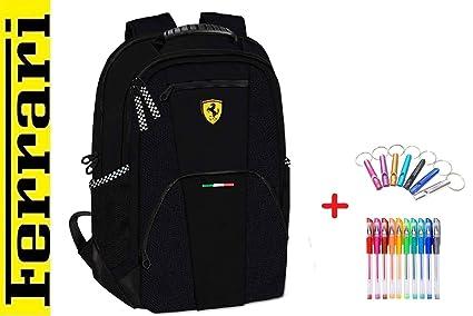 Mochila Grande Escolar Ferrari Negra + Llavero Fijo + 10 ...