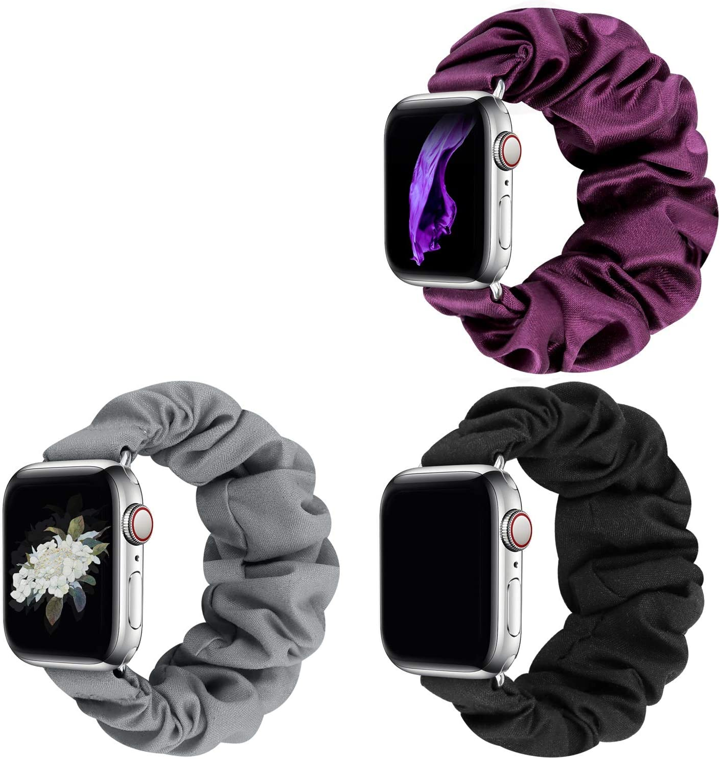 JIELIELE Compatible with Scrunchie Apple Watch Band 38mm 40mm 42mm 44mm, Cute Elastic Wristbands for Women, Stretchy Strap Iwatch Bands for Apple Watch Series SE 6 5 4 3 2 1 (M-38/40 SET-BGSP)