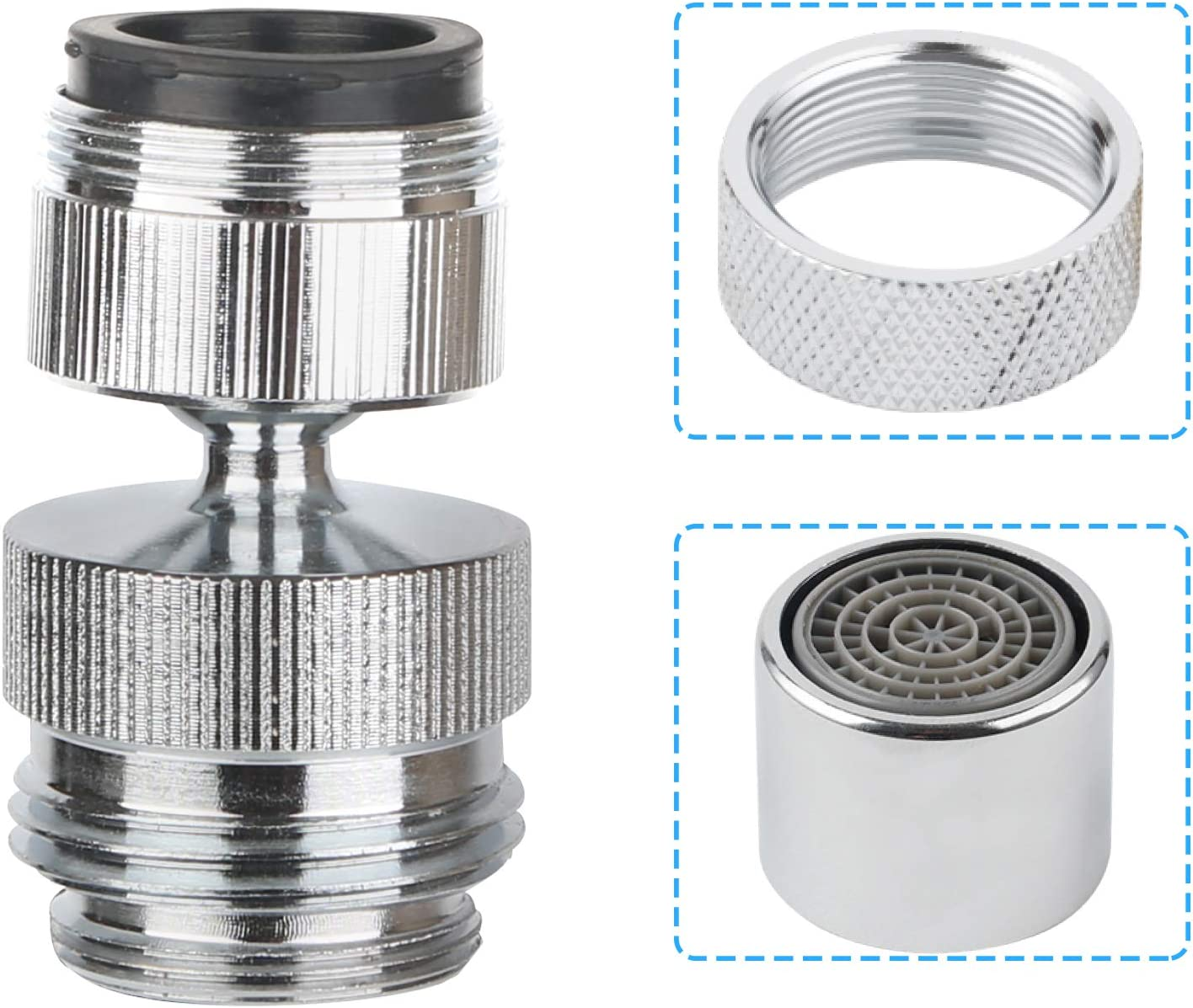 Faucet Adapter to Garden Hose, Kitchen Sink, Bathroom Sink Faucet Aerator, Kitchen Faucet, 360-degree Swivel Garden Hose Aerator Adapter, 15/16 Inch-27UNS Male Faucet Aerator- Chrome Finished