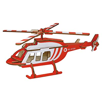 BestPysanky 40 Pieces Red Helicopter Model Kit - Wooden Laser-Cut 3D Puzzle: Toys & Games