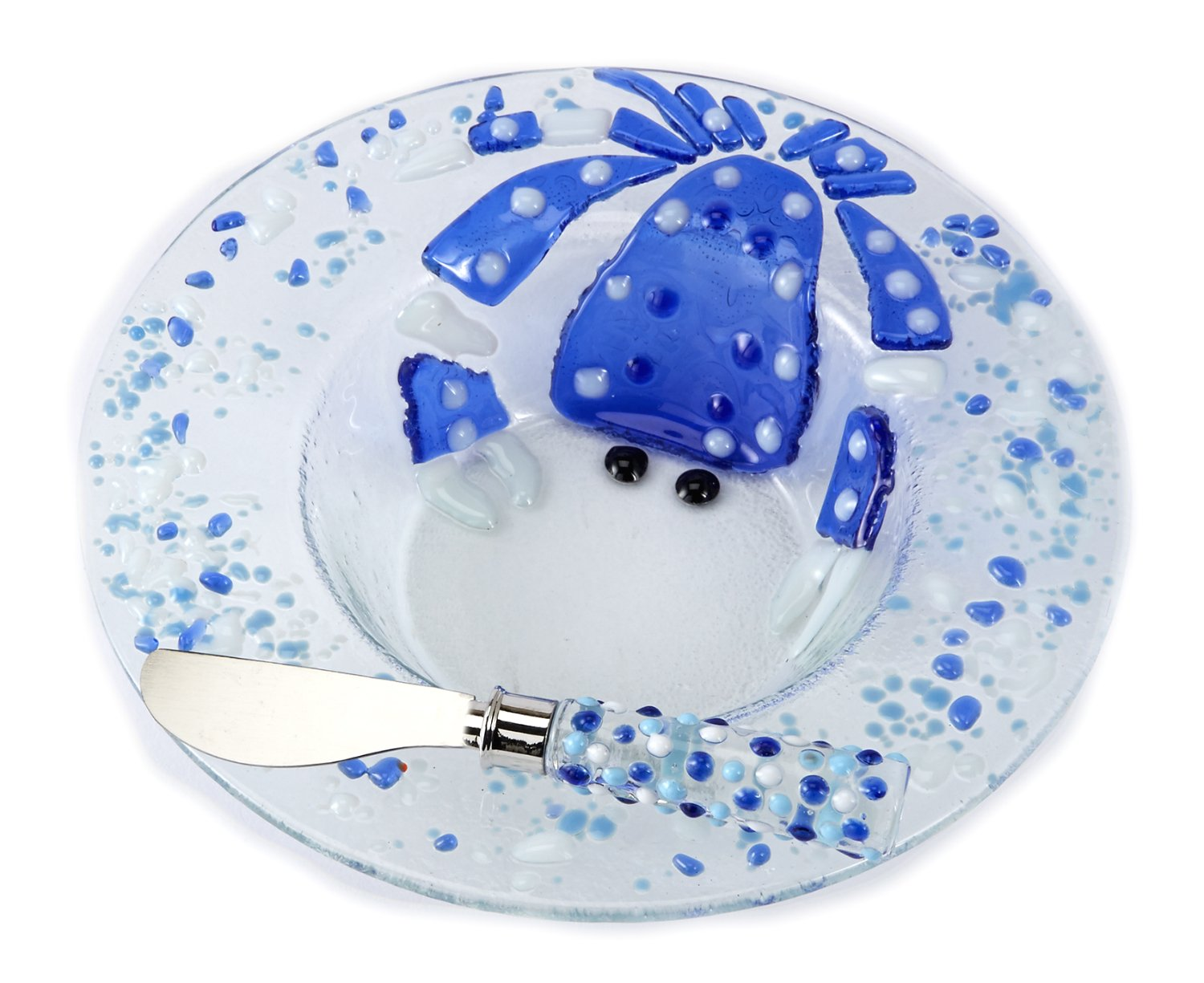 Christmas Tablescape Décor - Mud Pie blue crab glass dip cup and spreader set