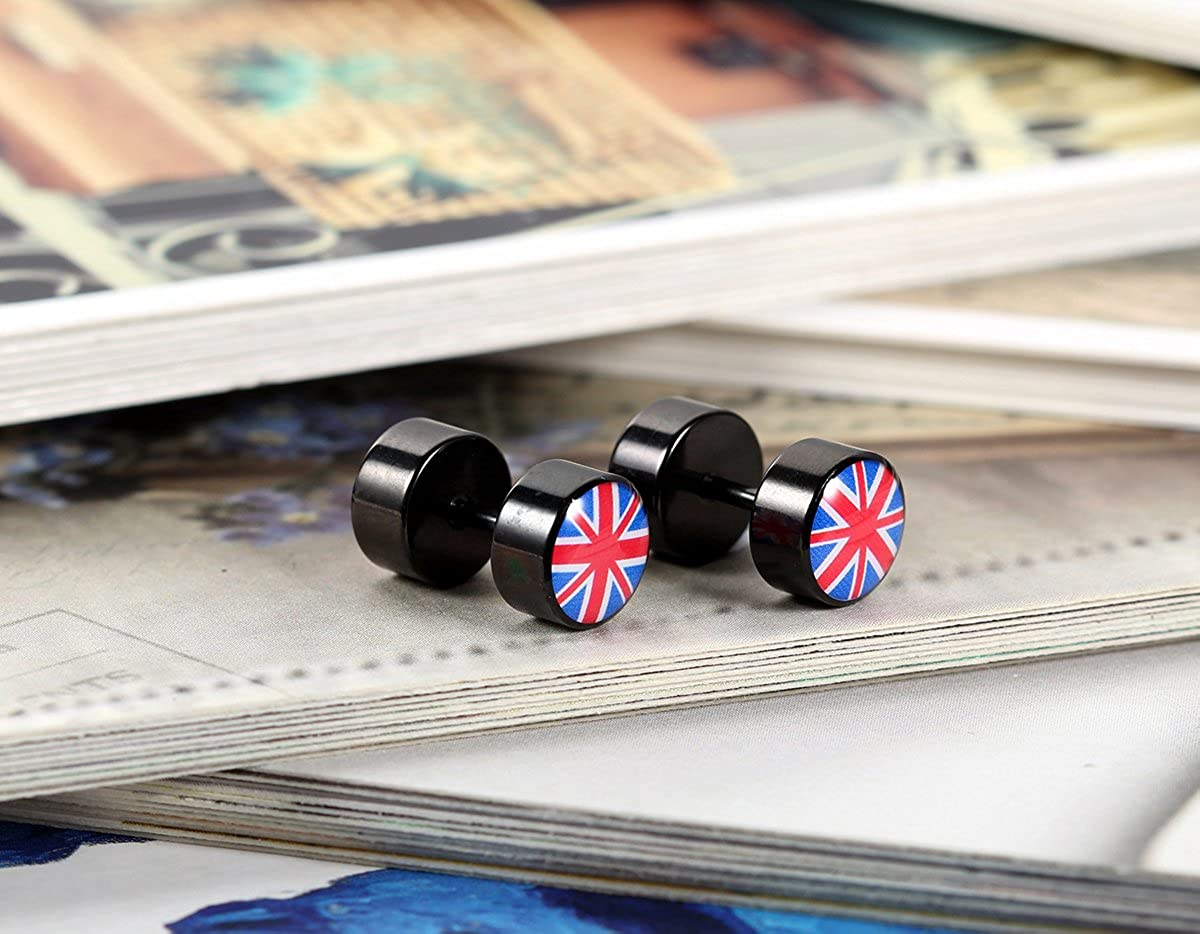 Flongo Mens Womens Stainless Steel Union Jack British Flag Kingdom UK England Taper Tunnel Stud Earrings Unique Union Jack Boys Girls Stud Earrings
