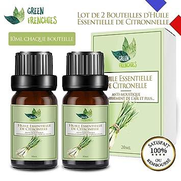 G.F. Huile Essentielle De Citronnelle, Citronnelle De Java Naturelle Anti  Moustiques, Lot De