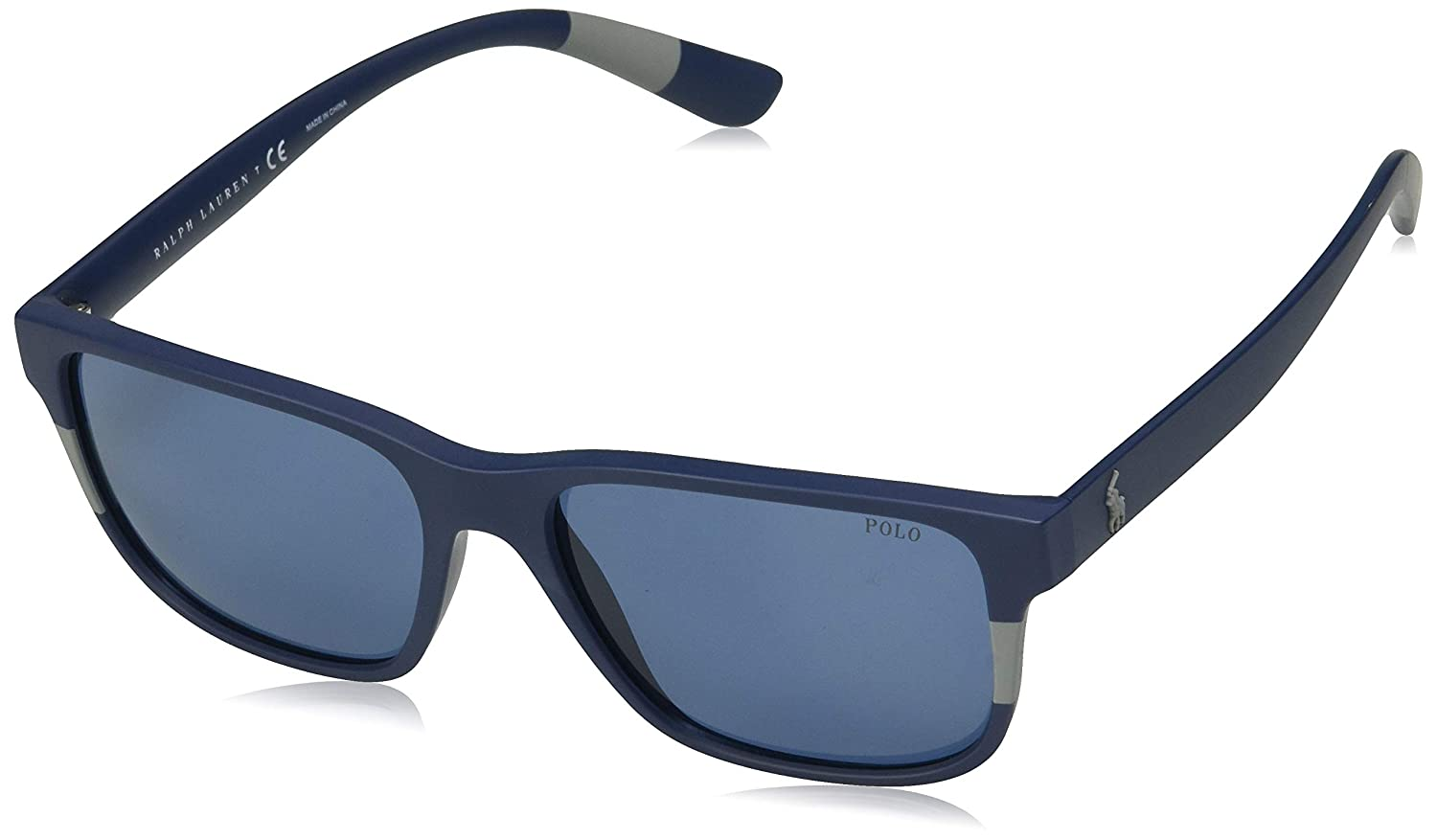 Amazon.com: Gafas de sol Polo PH 4137 559080 MATTE BLUE GRIS ...