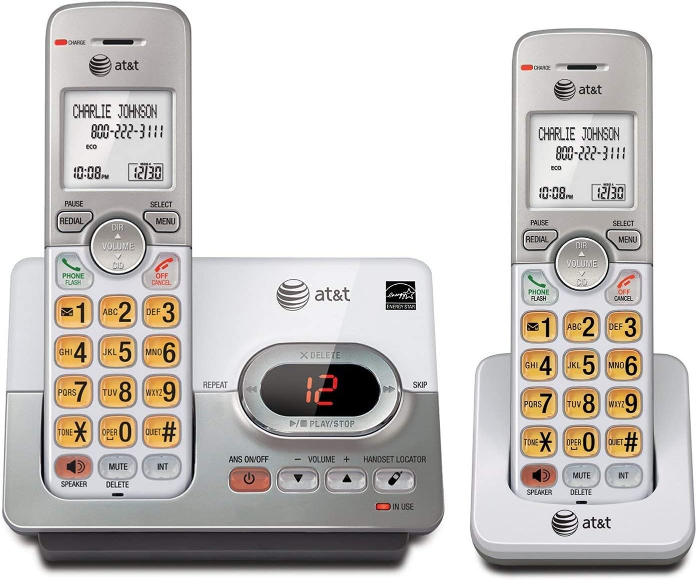 AT&T EL52203 2 Handset Cordless Answering System with Caller ID/Call Waiting (Renewed)