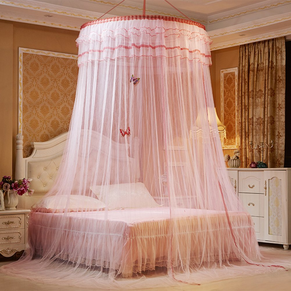 ANPI Mosquito net, Round mosquito nets Luxury Princess Pastoral Lace Bed Canopy Net Crib Luminous butterfly (White)