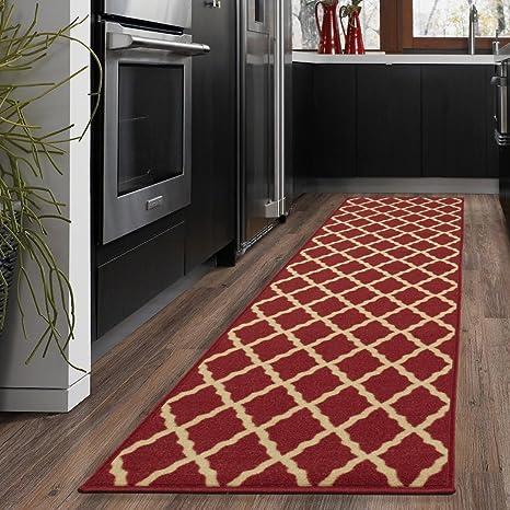Amazon Com Ottomanson Oth2320 2x7 Trellis Rug 1 Feet 10 Inch X 7 Feet Red Furniture Decor