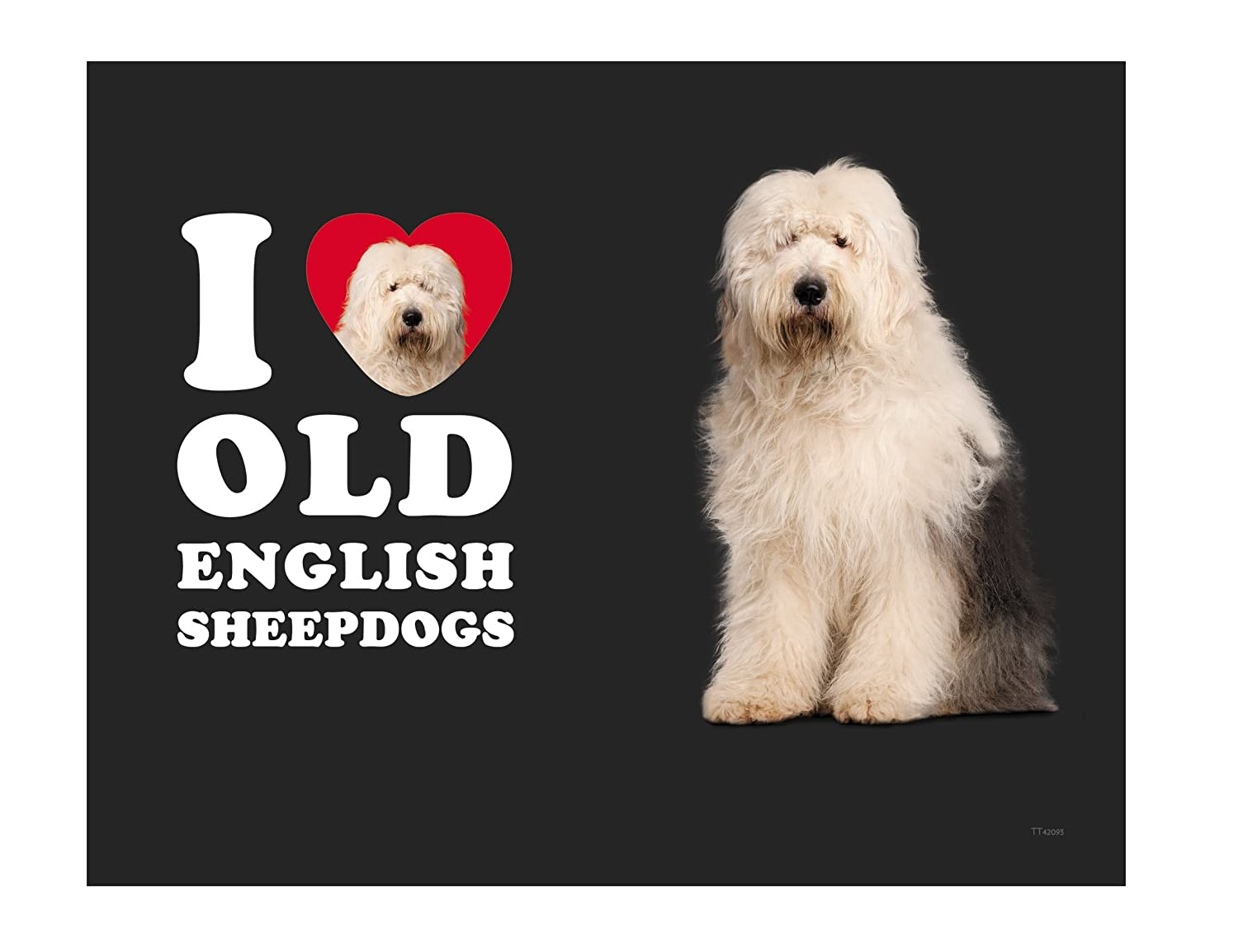 White and Grey 14-Ounce Tree-Free Greetings TT42093 I Heart Old English Sheepdogs 18-8 Double Wall Stainless Artful Tumbler