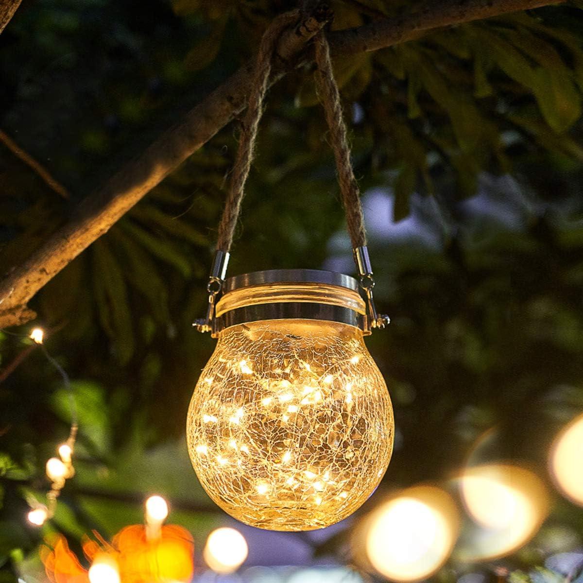 Luces De Jardin Solares,Qomolo 30 LED Luz Jardín IP65 Impermeable Exterior Solar Decoración Lámpara Jar Lampara Iluminación Para Terraza, Césped, Patio, Fiesta,Camino de Entrada, Escaleras