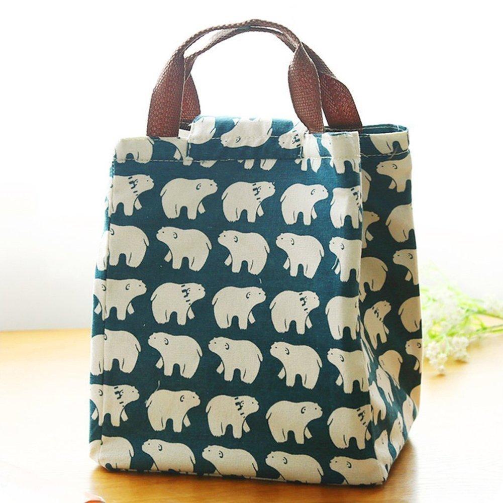 Yuhemii tela borsa termica porta pranzo borsa da picnic BBQ food Carrier viaggio scuola ufficio pranzo Carry Bags Floral
