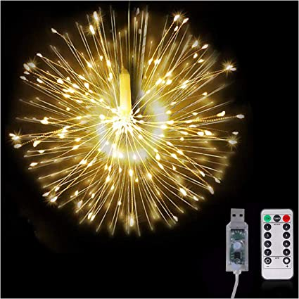 Hanging Firework 180 LED Fairy String Light 8 Modes Remote Christmas Party Decor